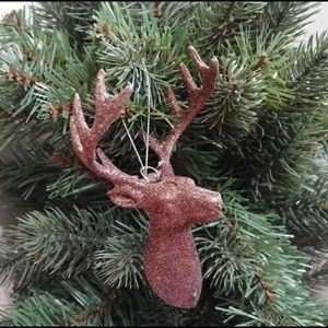 Brown Glittery Glam Rustic Farmhouse Stag Head